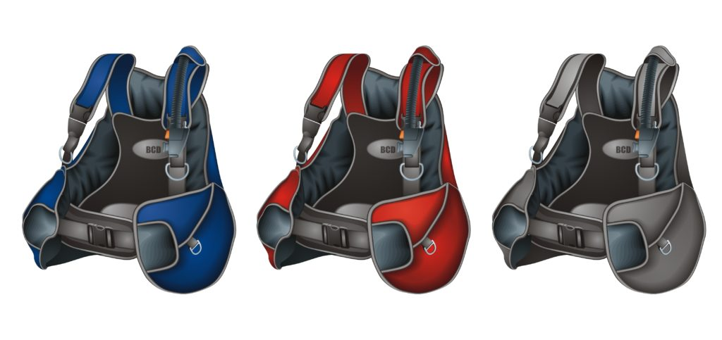 Range of colours for the best back inflate bcd