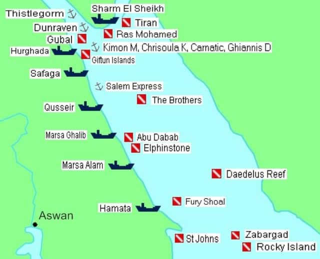 Red sea liveaboard routes north and south.