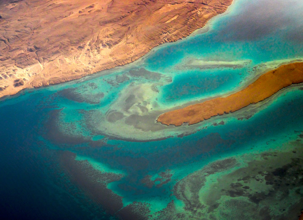 Aerial view of the red sea.